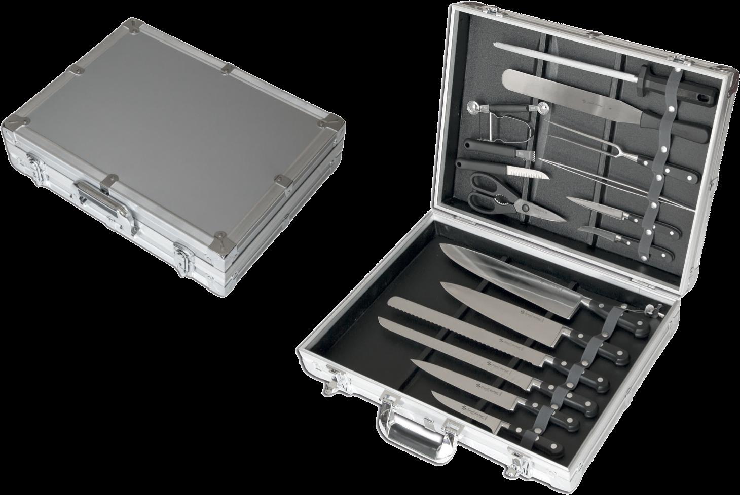 Valigia alluminio 17 pezzi, coltelli forgiati Chef